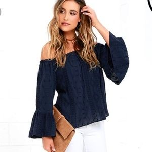 Lulu's navy embroidered bell sleeve shirt small